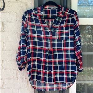 Market & Spruce rayon plaid pullover blouse
